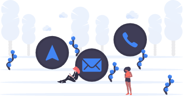 image for contact with people checking mail on phone and icons of mail and arrow